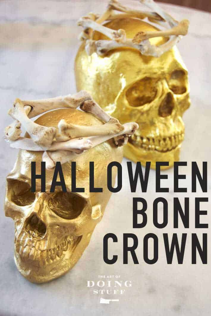 Putting the CREEP back in Halloween! Make a Halloween bone crown out of real bones (chicken). Or for the more squeamish among you, use plastic bones from the Dollar Store. Wear it as part of your Halloween costume (I mean what Halloween costume isn\'t elevated by a bone crown??) or as a party decoration. #halloweencostume #halloween #halloweendecor