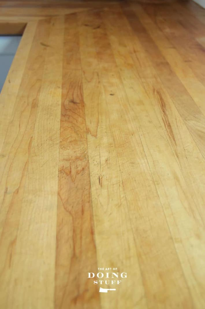 A newly oiled butcher block counter.