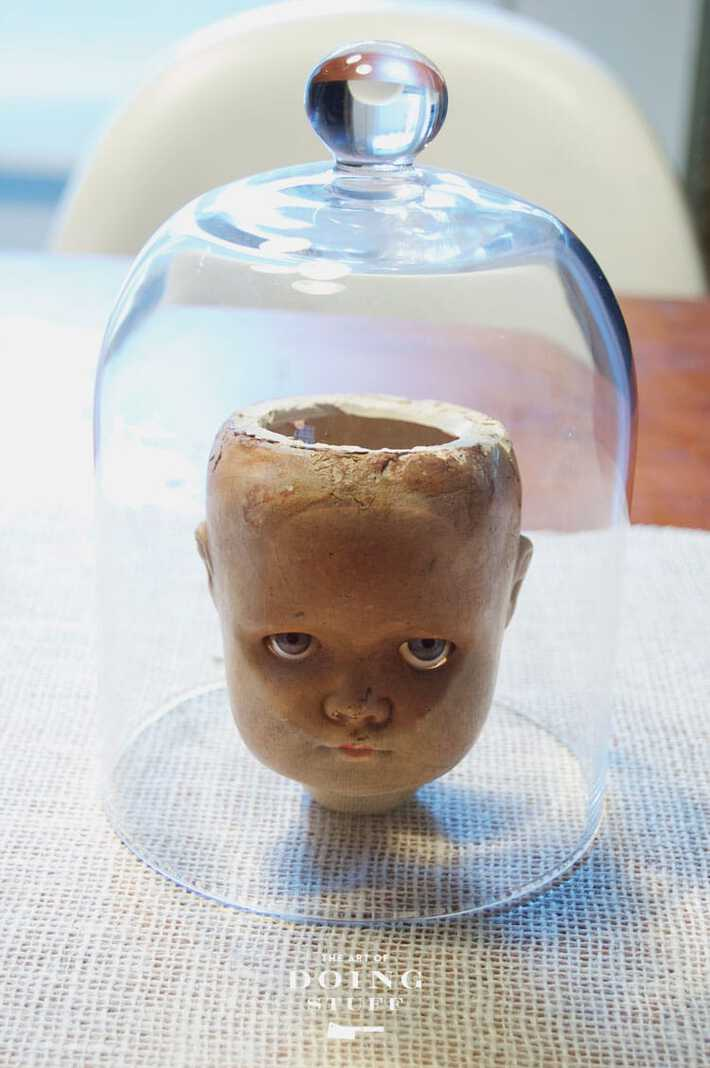 dolls head under glass halloween