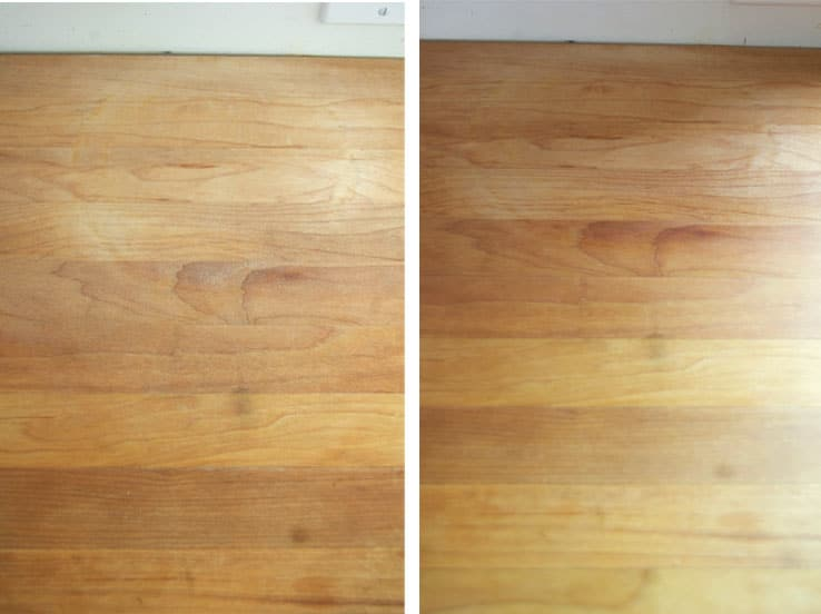 Side by side of wood counter that's been sanded and oiled.