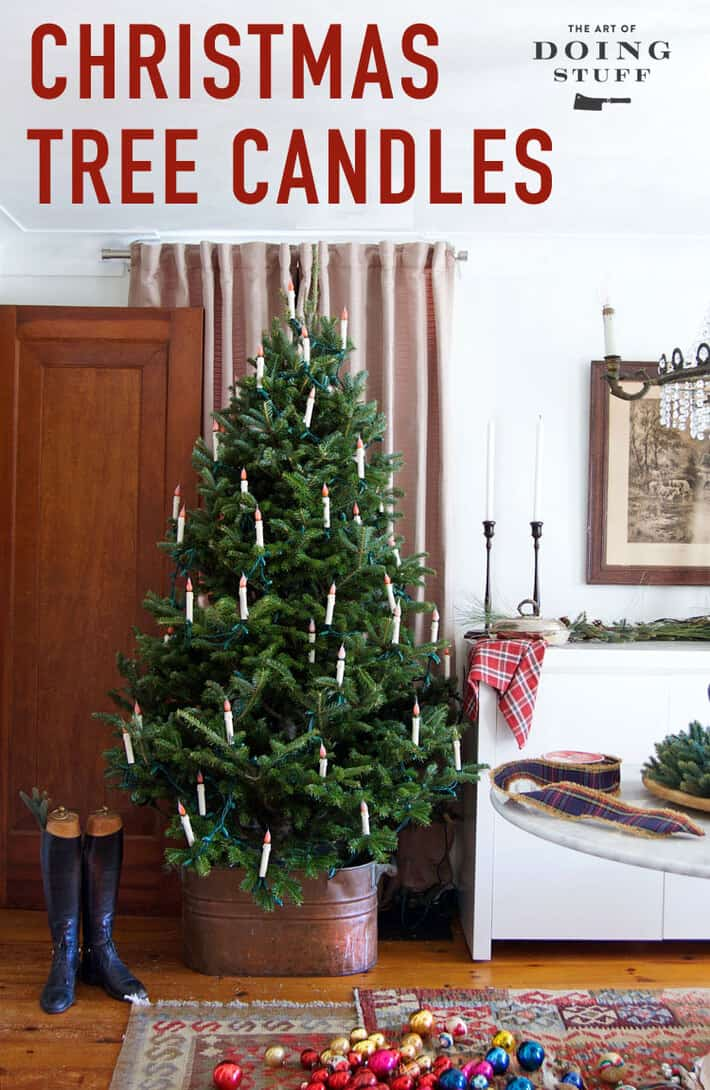 DIY flameless Christmas tree candles for the Christmas Crafting trifecta! Easy, affordable and impressive. Plus they\'re weirdly fun to make! Learn how #christmas #christmastree #christmascraft