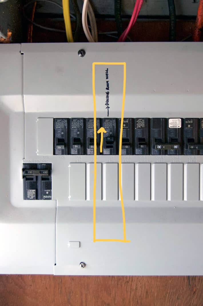 Electrical panel with one breaker turned off.