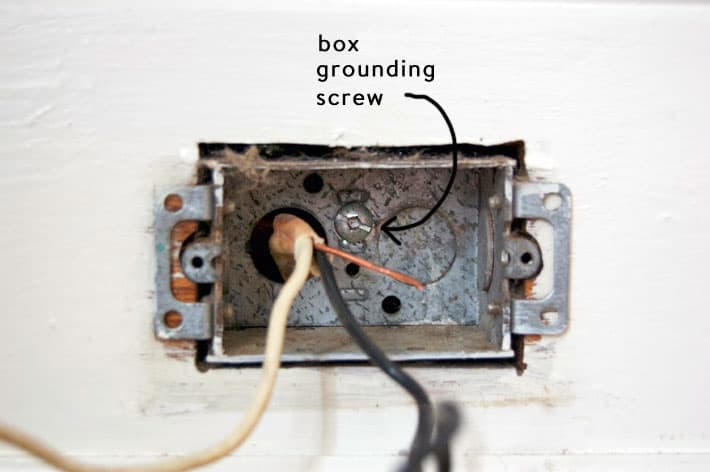 Shot of inside of electrical box, focusing on the box grounding screw at the back of the box, to the right of where the wires come in.