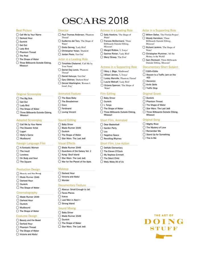 graphic regarding Printable Oscar Ballots titled 2018 Oscar Ballot. Even even though optimum motion pictures sucked this calendar year