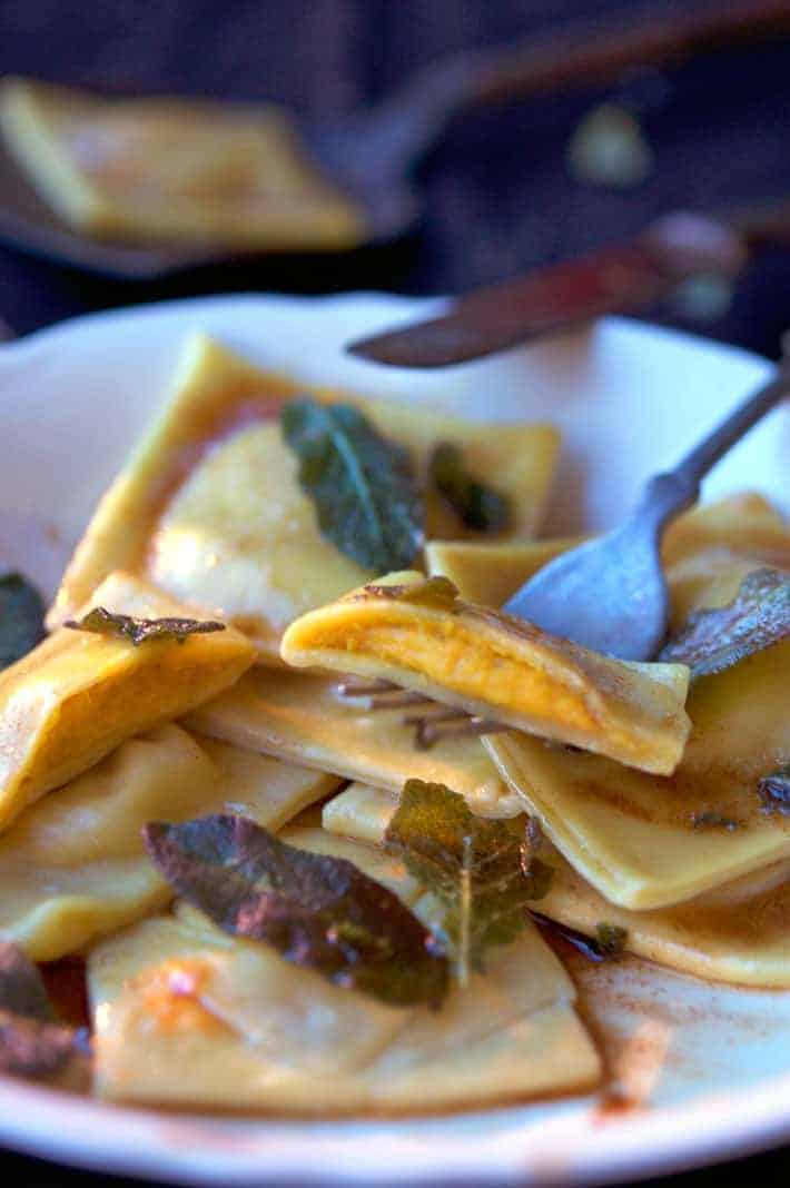 Pumpkin Ravioli with Browned Butter Sauce.
