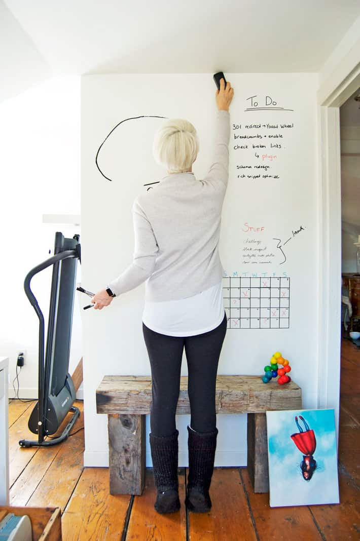 Large white wall acting as a large dry erase calendar in home office.