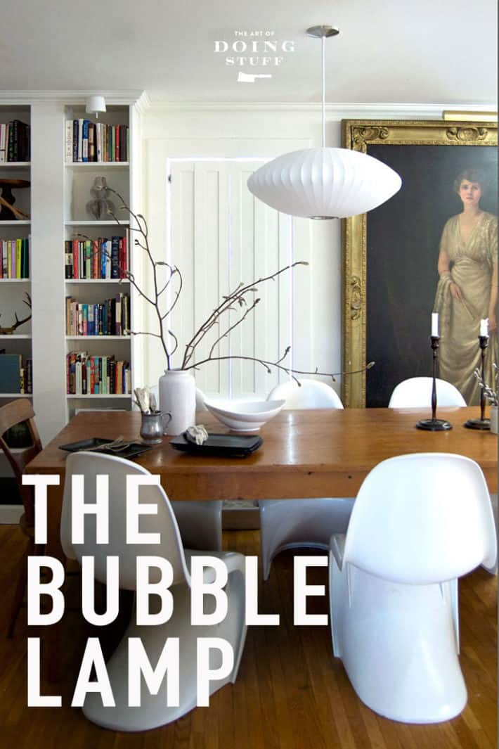 The iconic Mid Century modern light.  The George Nelson Bubble Lamp.  Why it works is my home.