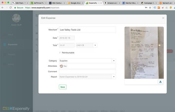 Screen shot from desktop computer of Expensify desktop app.