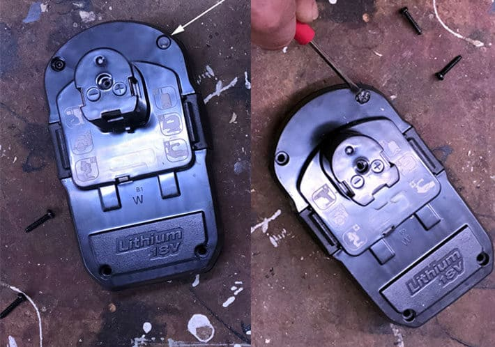 Side by side view showing you how to remove small cap on 18 volt lithium battery.
