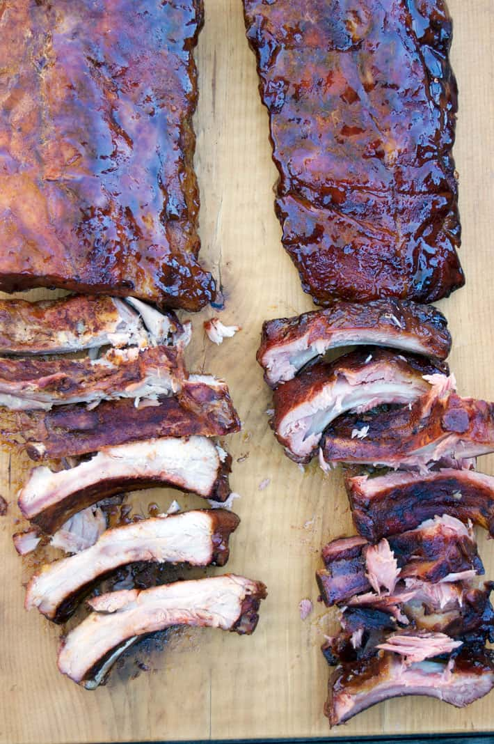 Side by side comparison of racks of ribs.