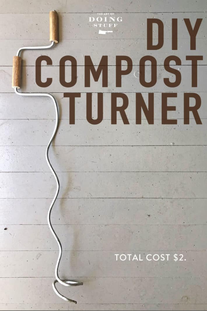 Making your own compost is insanely easy but it takes a longggg time.  Using a compost turner will speed things right up. Learn how to make one for $2 right  now (before you forget ... because we both know you will).