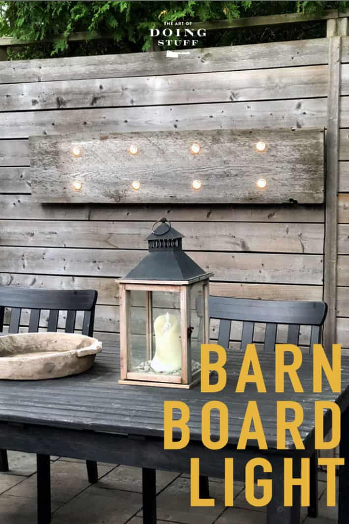 Looking for great, inexpensive outdoor lighting?  Make this barn board wall light for about $60 in an hour.