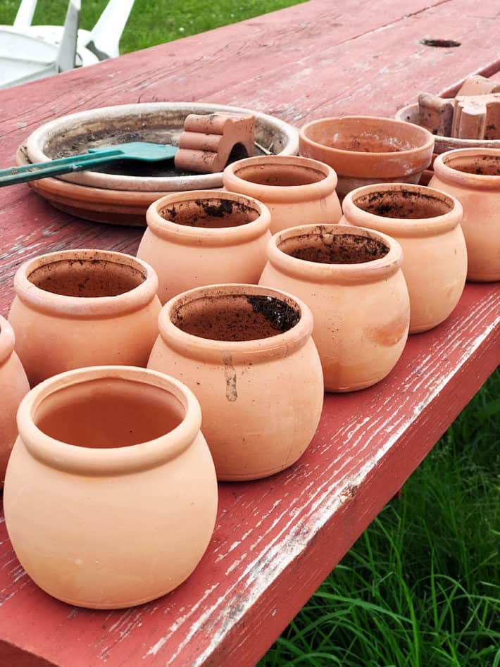 Small, round clay pots on worn, red picnic table.