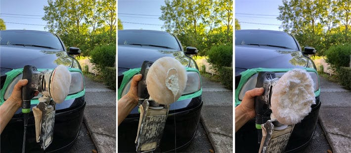 Polishing compound on lambswool attached to palm sander for cleaning headlights.