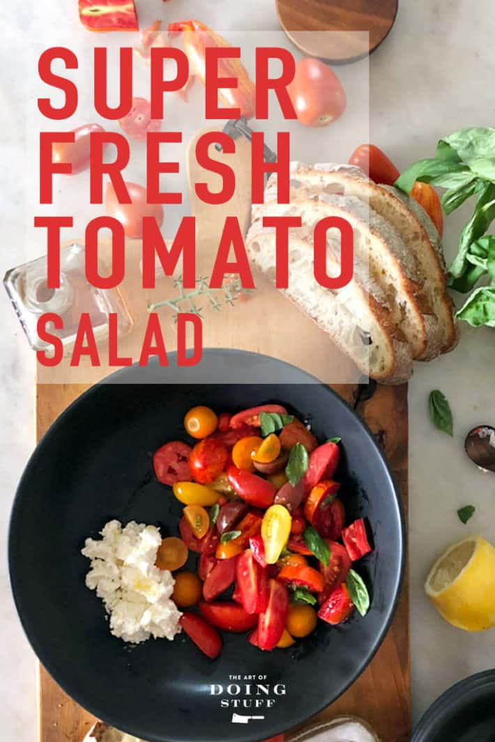 Glut of tomatoes? Make this super-fresh heirloom tomato salad with just 5 ingredients. And yes. One of them is tomatoes. ;)
