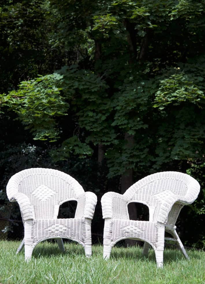 Two white wicker chairs sitting on lawn with forest of maple trees in background.