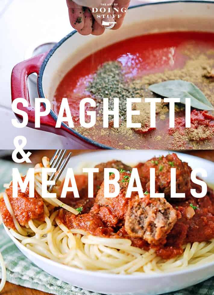 Searching for the perfect spaghetti and meatball recipe? This might be it. Easy, delicious and made in a classic Italian way that you may have never thought about. ... because it\'s made with tomato juice! I use homemade but it turns out just about as delicious with a can of store bought tomato juice. Yup. Regular tomato juice. The kind you\'d drink if you were in the velvet booth of a 1977 steak house.