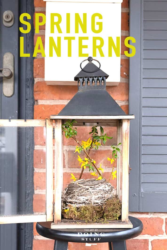 Have some lanterns?  Good.  Take the boring candle out of them and give them a Spring update!