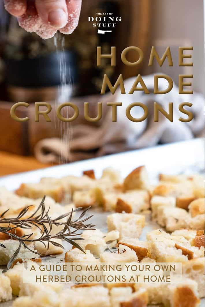 Who could be BOTHERED to make their own croutons? Not me. Until a year ago. At which point I realized they only take 15 minutes and that includes 5 minutes of scrolling instagram while they bake. Try \'em!