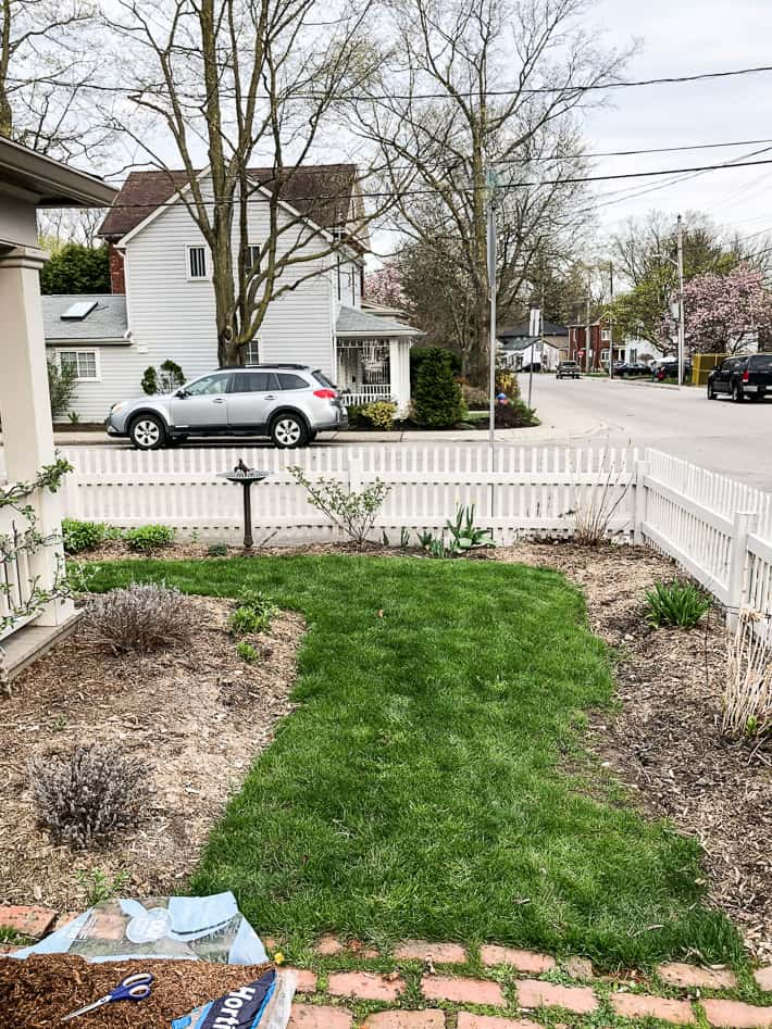 Front lawn and garden beds surrounded by white picket fence pre-mulch looking sad.
