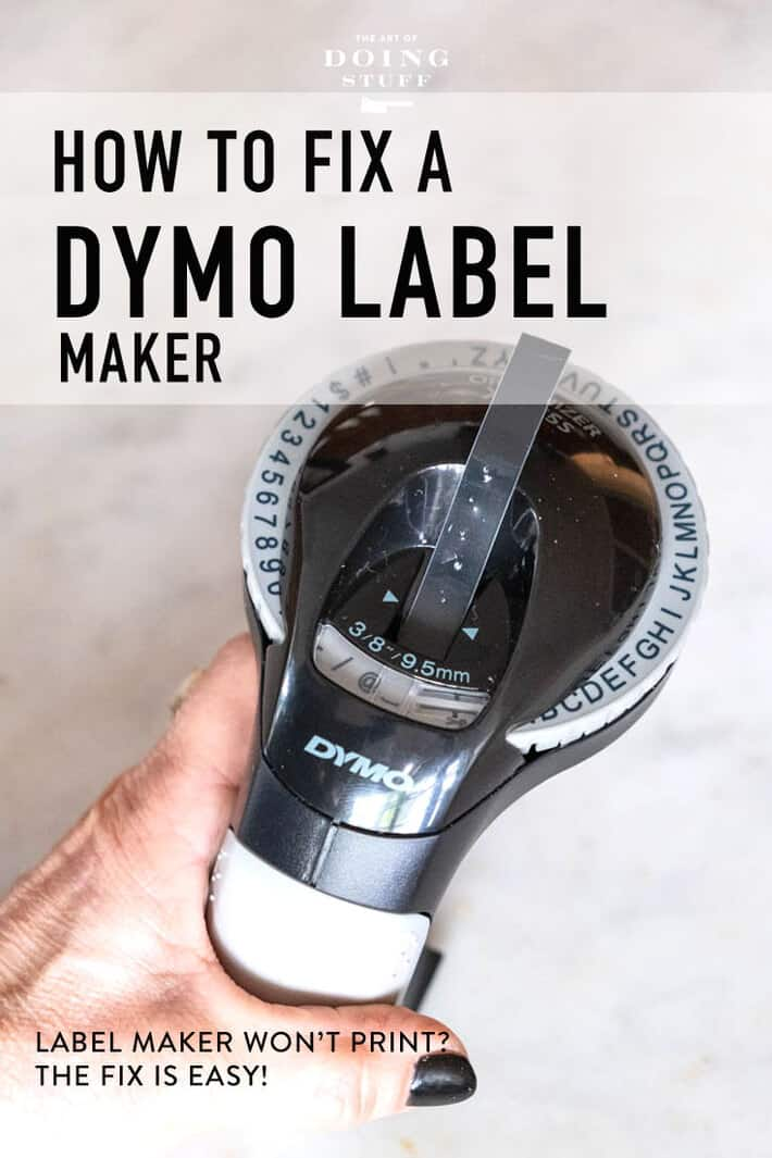 Have an old timey Dymo label maker that won\'t print?   Yeah, I had the same problem when I changed the tape in mine.  The fix is reallyyyyyy easy and fast. 2 seconds and you\'ll be labelling everything in sight again! #organizing #labelmaker #dymo