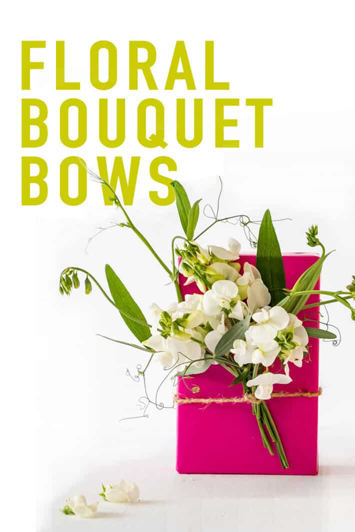 Ditch the ribbon and add a floral bouquet bow to this summer\'s presents. (floral vial recommended for most flowers but sweet peas can travel quite a distance with no water without wilting into oblivion. Click to see more examples! #uniquegiftwrapping #flowers