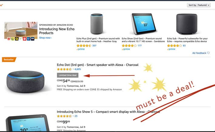 View of an Amazon web page showing various deals on the Echo Dot.