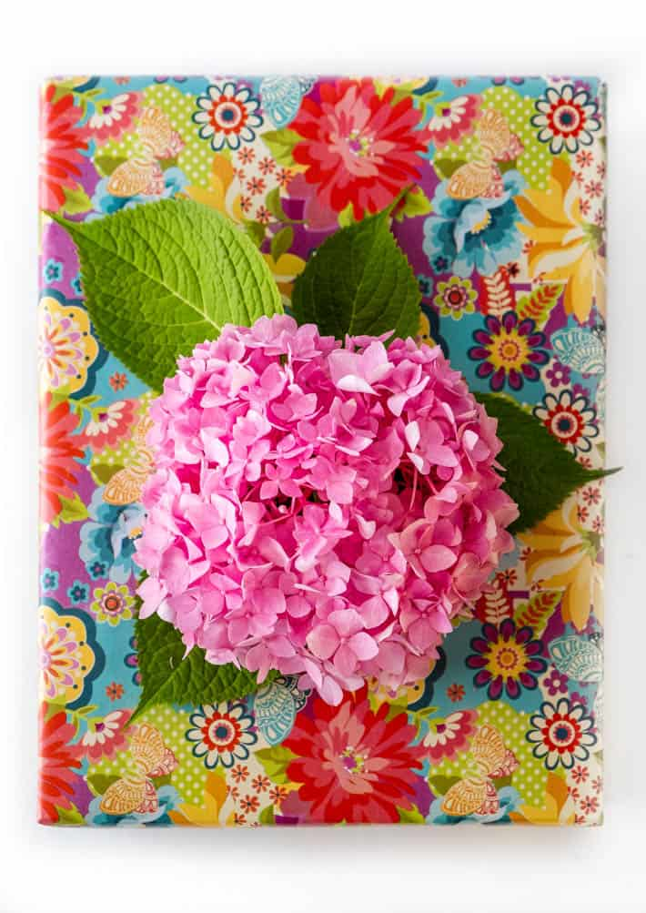 "Top-down view of gift wrapped with floral paper topped with pink hydrangea ""bow"" on white background."