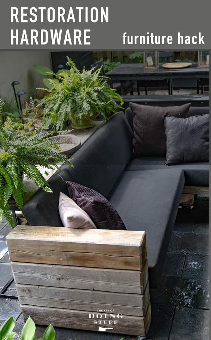 A front to back look at the Restoration Hardware sectional I hacked. How to build it and put it together. RH version = $20,000. DIY version = $2,000 (including custom outdoor cushions)