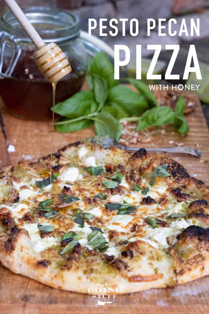 THE most requested item from my pizza oven is THIS pesto/pecan pizza. The ingredients may sound delicious on their own, but when you combine them on a pizza they SING. SING I tell you! Bookmark the recipe now so can find it again when you go to make this.