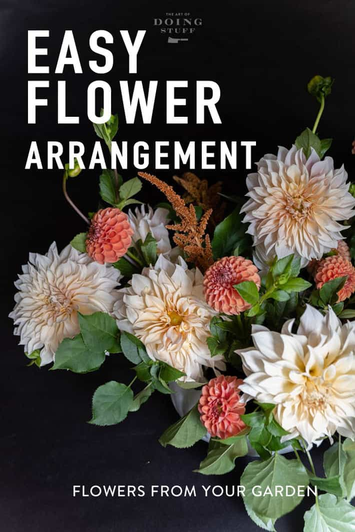 Have a garden full of flowers but no confidence to stick them in a vase? I\'m gonna show you how to make this arrangement with a few flowers and a few tricks. #flowers #flowerarranging