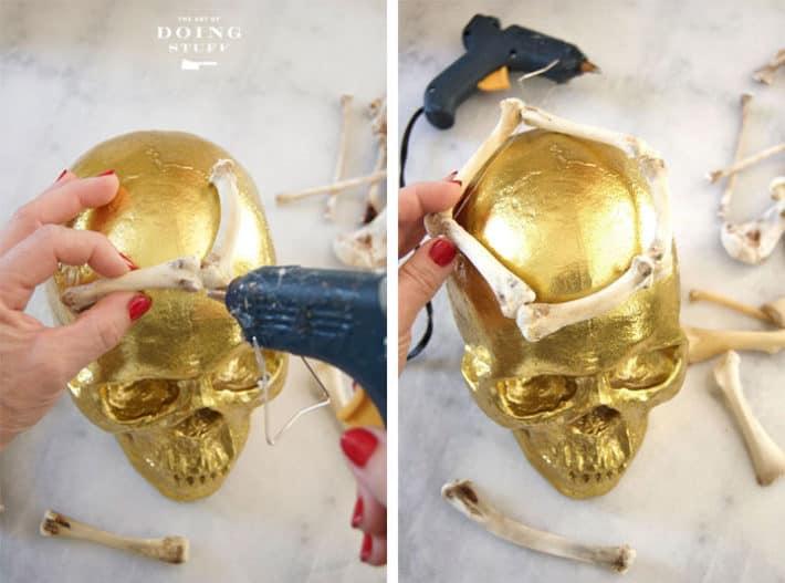 Hot gluing bones together.
