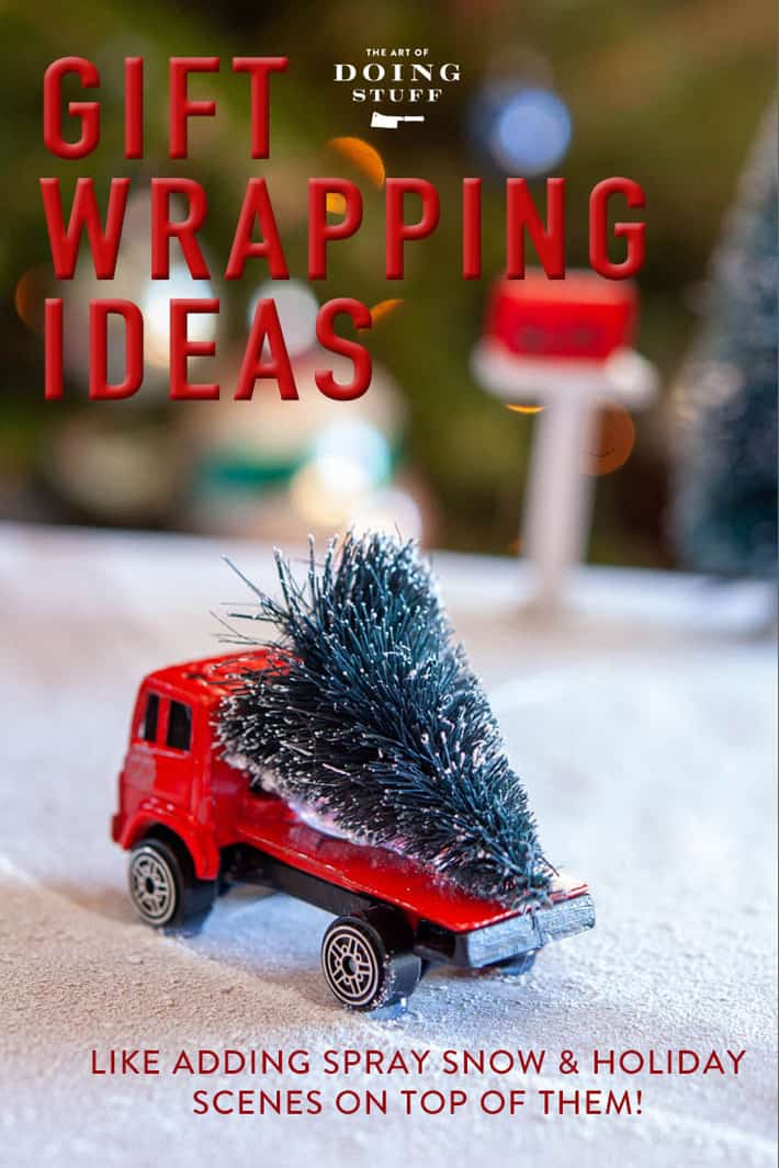 My best wrapping ideas from over the past 10 years including the hugely popular Christmas Present holiday scenes (instead of a bow), tracing and glitter techniques, plus how to make a bow out of your wrapping paper. (and more!) Click through for Christmas wrapping inspiration. #christmaswrapping #holidaycrafts