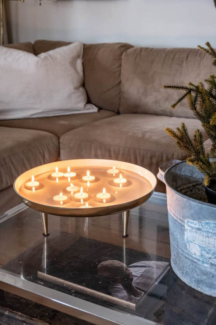 DIY floating candles in a modern bowl with legs.