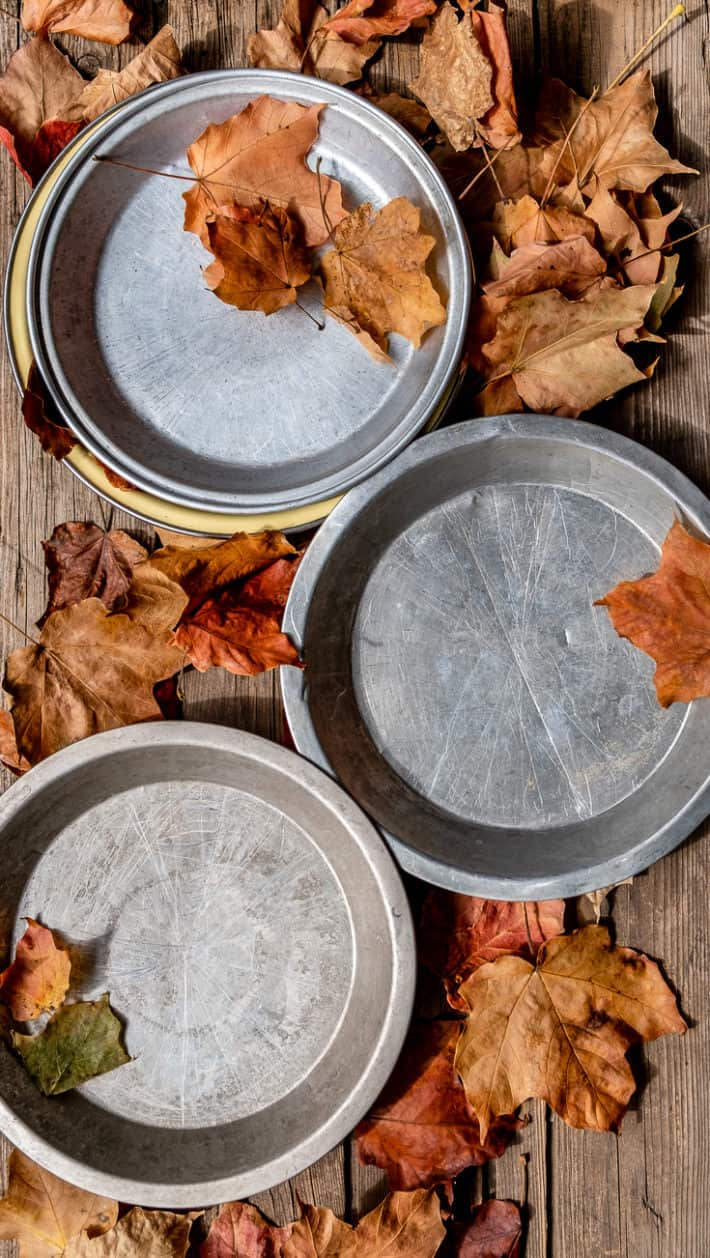 3 old aluminum pie plates on a wood table with scattered maple leaves around.