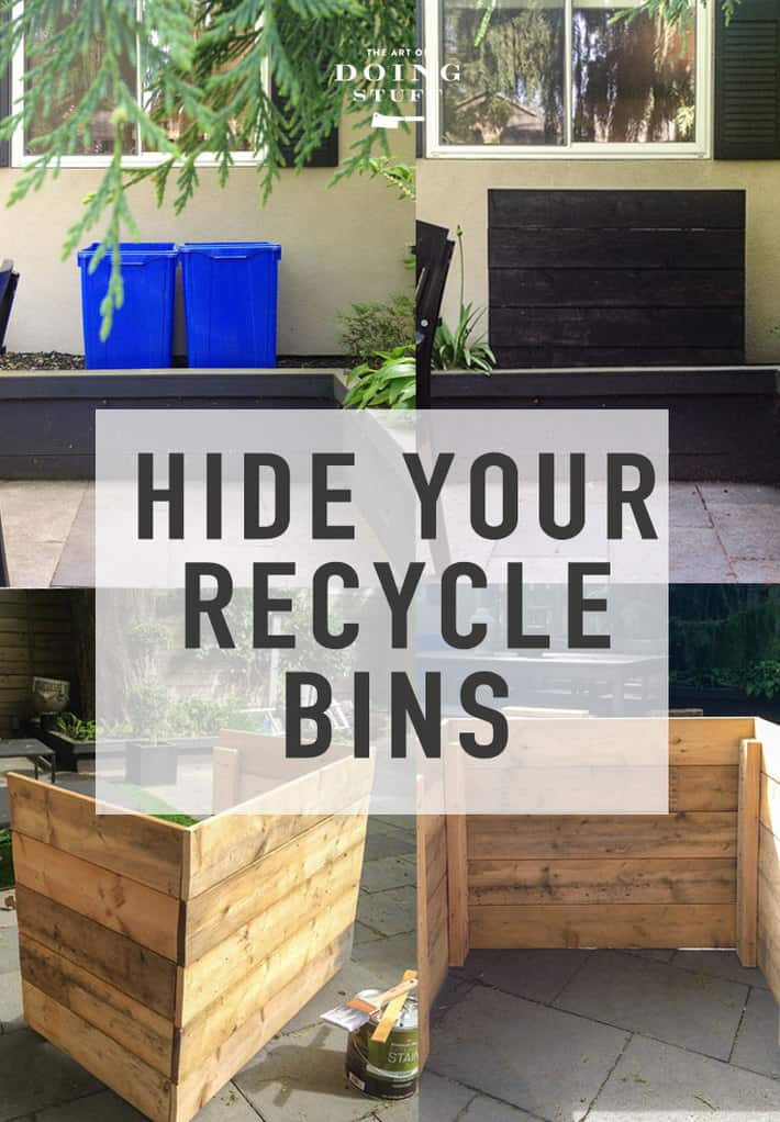 How to Hide Recycle Bins.  A DIY Recycle Bin Cover.