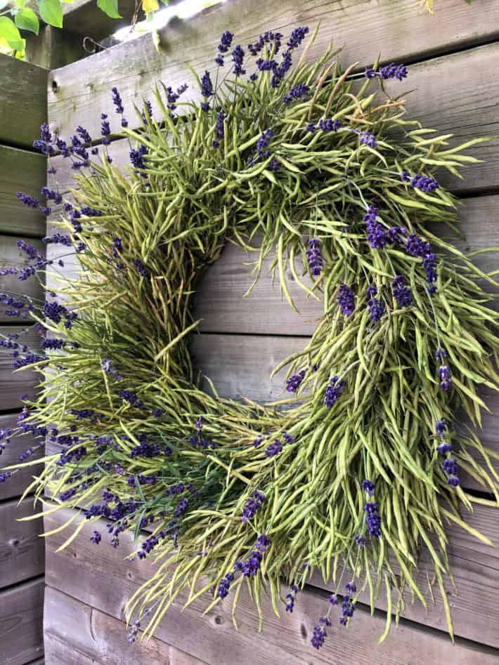 """A 12"""" green wreath made entirely out of kale seed pods with sprigs of fresh lavender."""