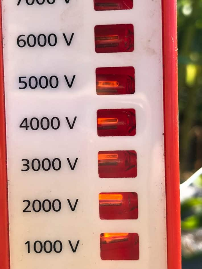 Electric fence charger lit up showing it's working at 5,000 volts.