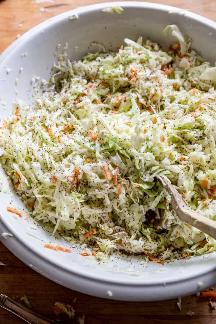 Coleslaw sprinkled generously with celery seed.